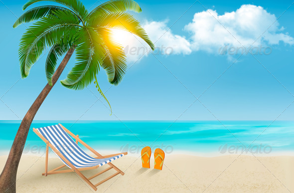 GraphicRiver Seaside Background with a Beach Chair and Palm 6914625