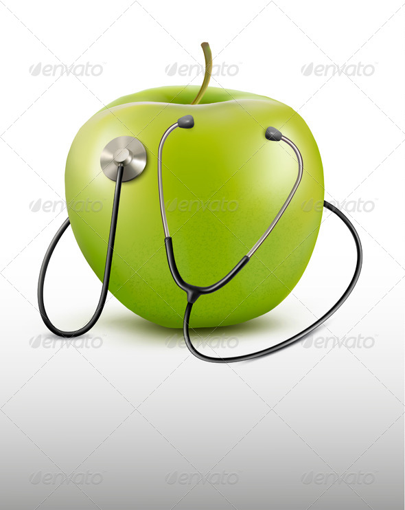 GraphicRiver Stethoscope and Green Apple 6914629