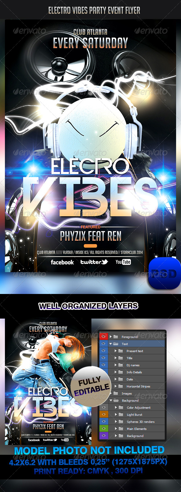 GraphicRiver Electro Vibes Party Event Flyer 6914655
