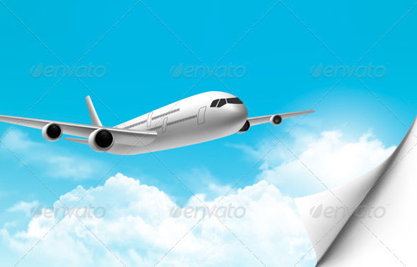 GraphicRiver Travel Background with an Airplane 6914659