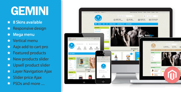 01 home.  large preview - Gemini - Responsive Magento Theme