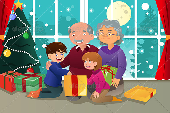 GraphicRiver Kids Opening Christmas Present from Grandparents 6908416
