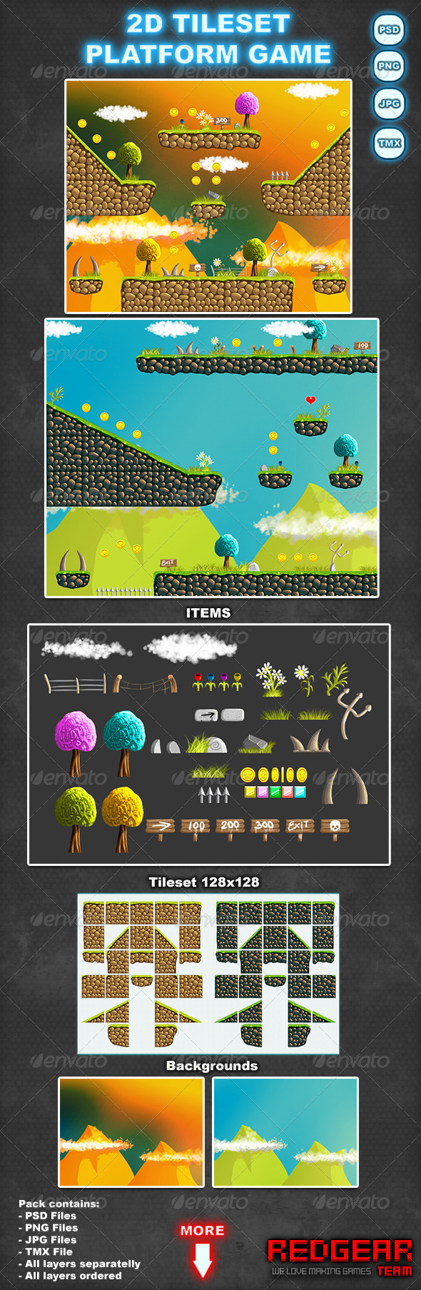 2D tileset platform game - Scenes Illustrations
