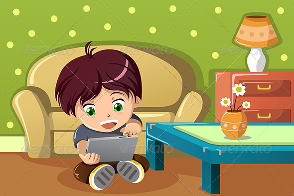 GraphicRiver Boy Using a Tablet PC 6915807