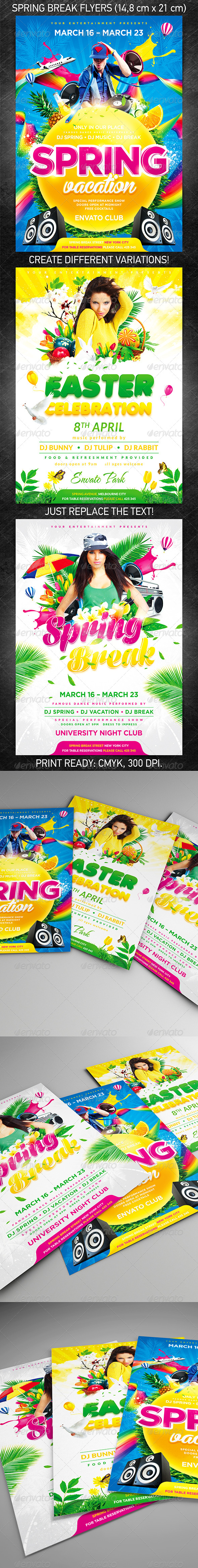 Spring Break Party Flyer Bundle - Holidays Events