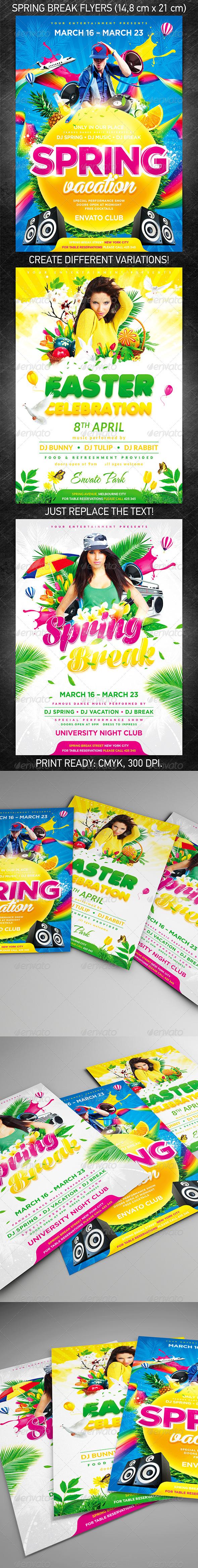 GraphicRiver Spring Break Party Flyer Bundle 6916189