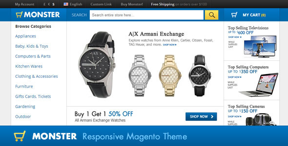Monster Responsive Magento Theme - Shopping Magento