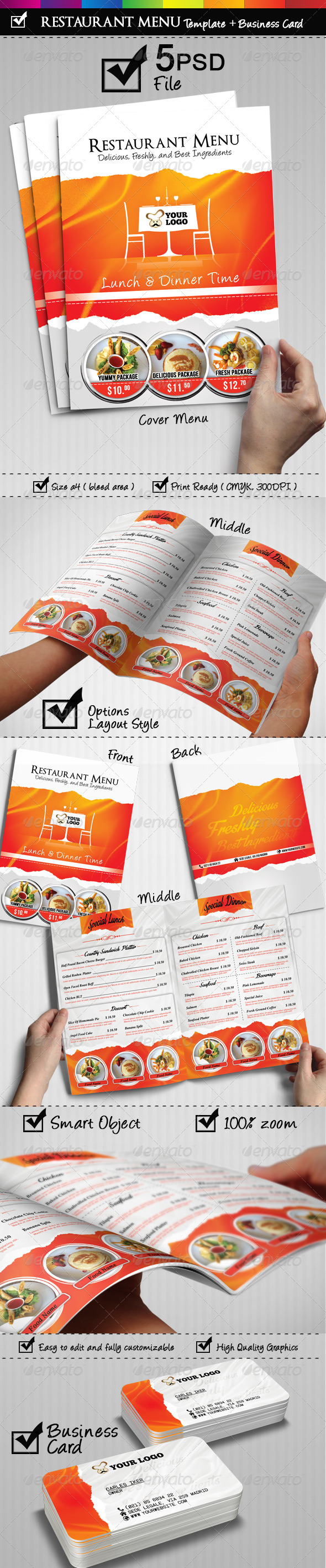 GraphicRiver Restaurant Menu With Business Card Included 6916216