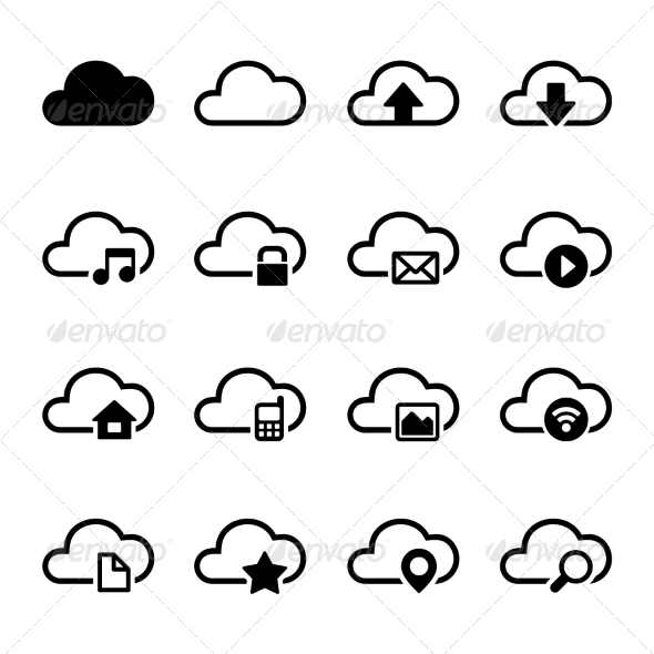GraphicRiver Cloud Storage Icons Set 6916224