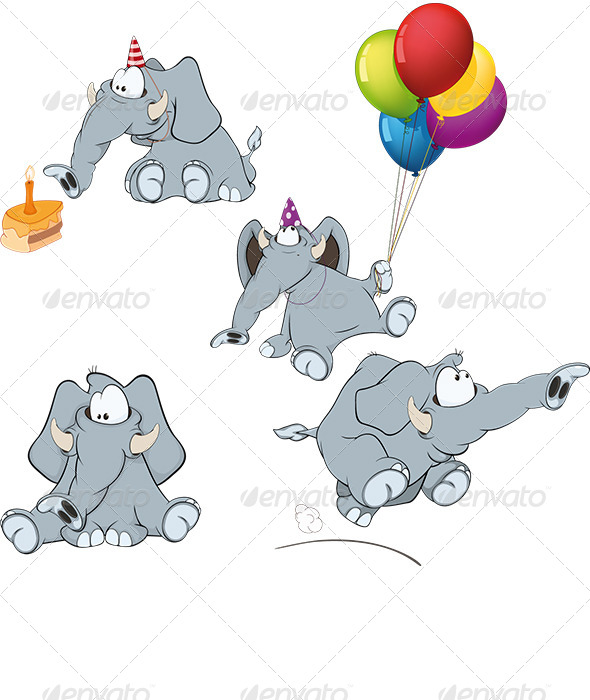 GraphicRiver Set of Elephant Cartoon 6916242