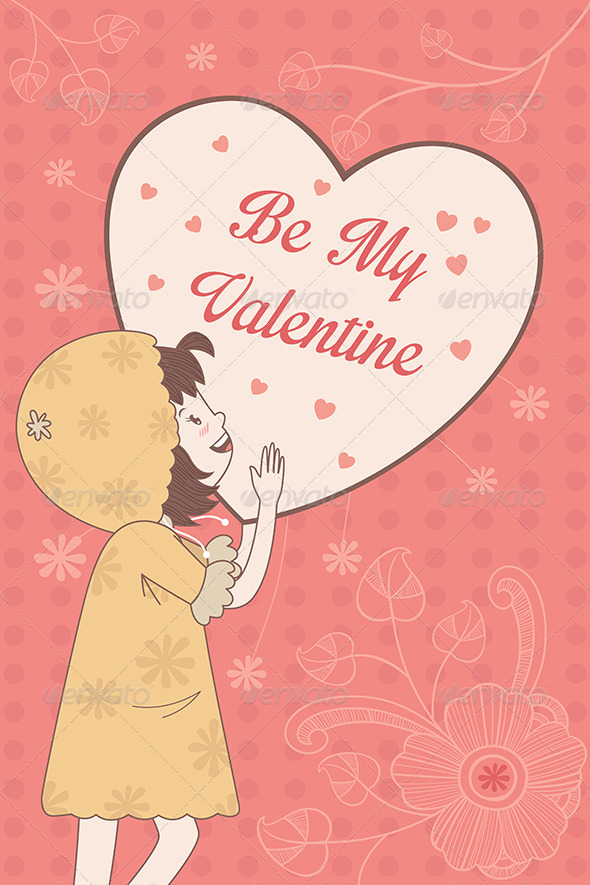 GraphicRiver Valentine Card with Be My Valentine Words 6916660