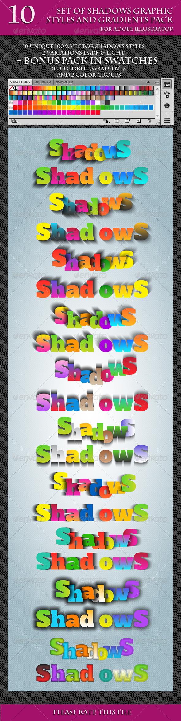 GraphicRiver Set of Unique Vector Shadows Graphic Styles 6916687
