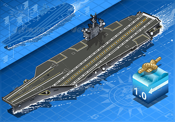 GraphicRiver Isometric Aircraft Carrier in Navigation in Front 6916690