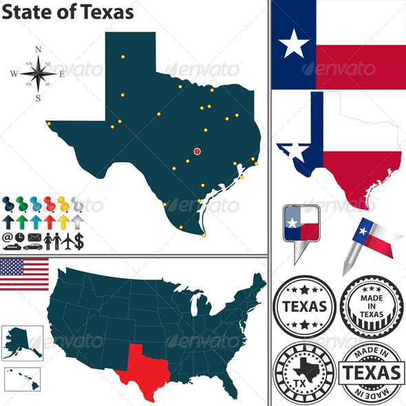 GraphicRiver Map of State Texas USA 6916736