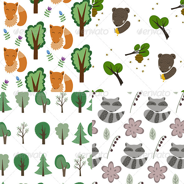 GraphicRiver Forest Patterns Set 6917094