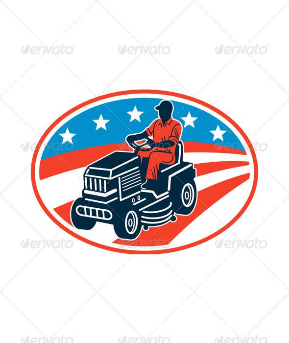 GraphicRiver American Gardener Mowing Lawn Mower Retro 6917117
