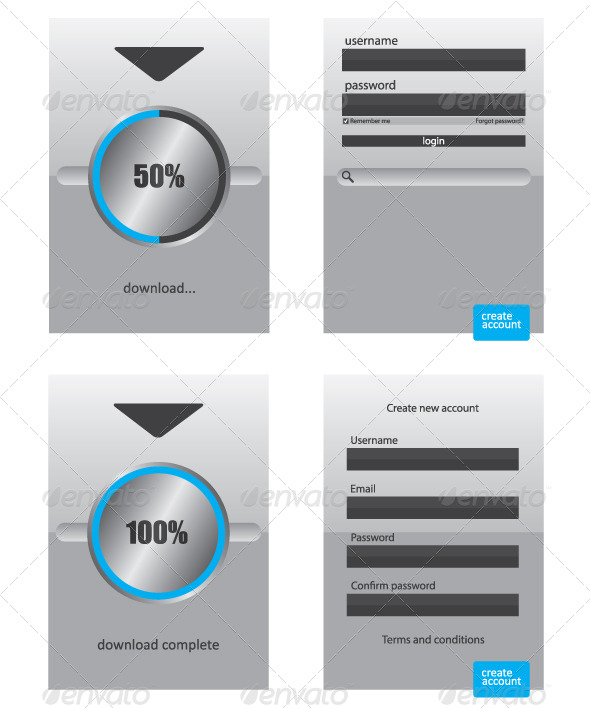 GraphicRiver Round Progress Bar and Register Log in Web Element 6917133