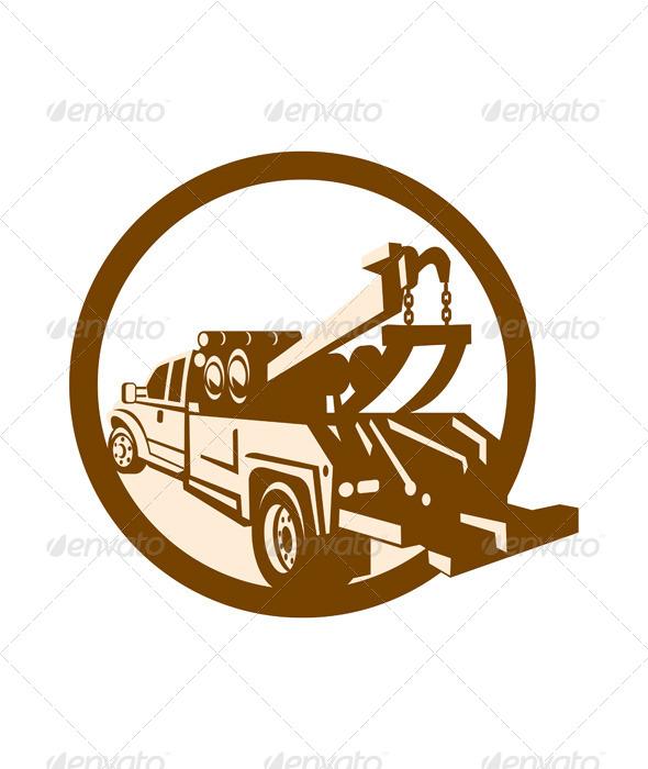 GraphicRiver Tow Truck Wrecker Rear Retro 6917233