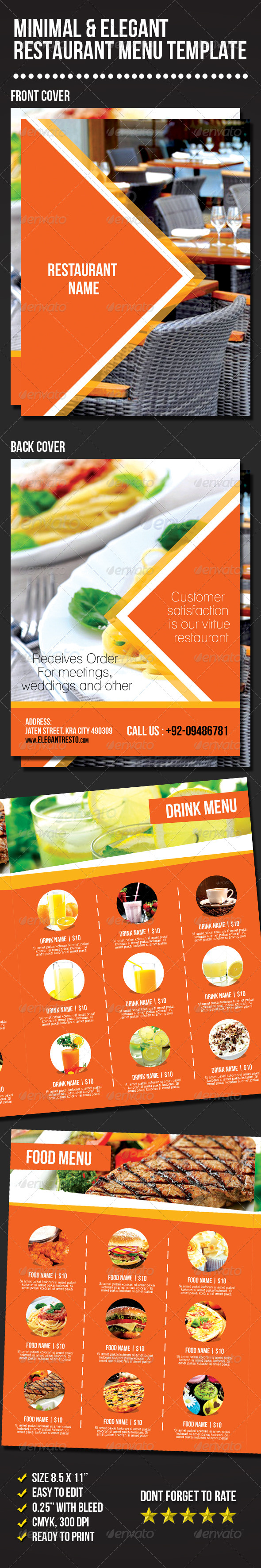 GraphicRiver Minimal & Elegant Restaurant Menu Template 6898637