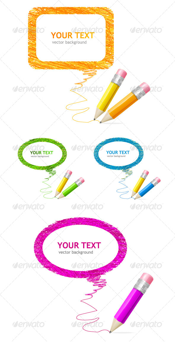 GraphicRiver Pencil Speech Bubbles Set 6918827