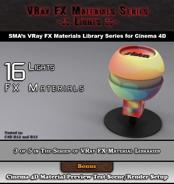 3DOcean 16 VRay FX Lights Materials Pack for Cinema 4D 6918977