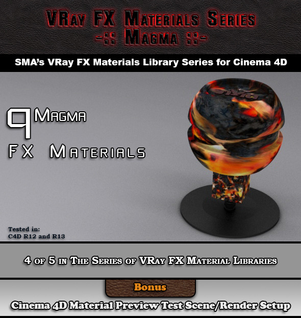 3DOcean 9 VRay FX Magma Materials Pack for Cinema 4D 6919107