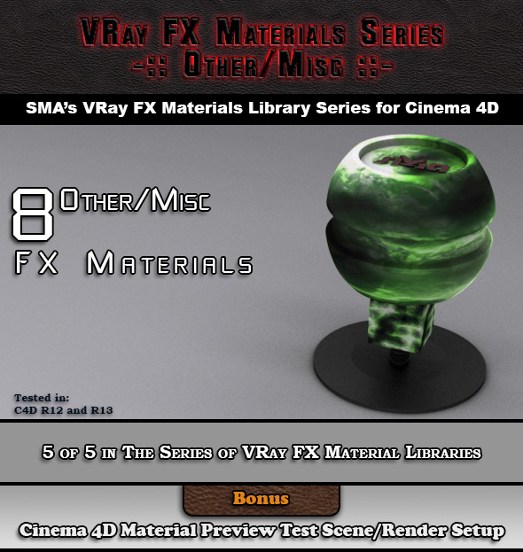 3DOcean 8 VRay FX Other Misc Materials Pack for Cinema 4D 6919138