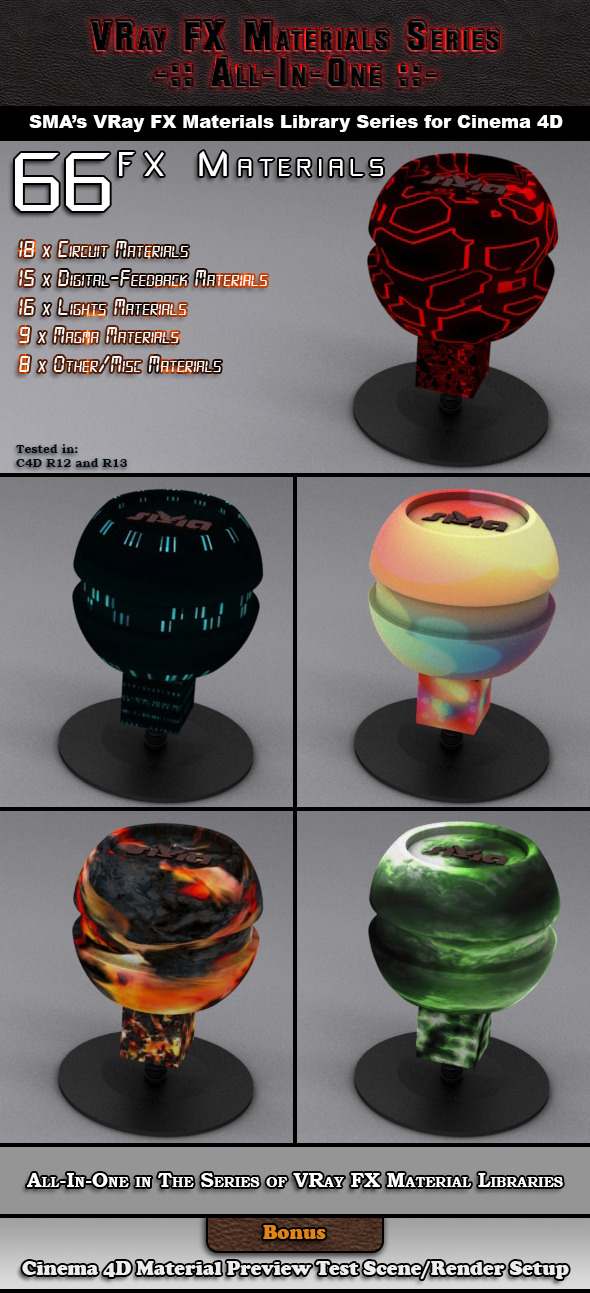 3DOcean 66 VRay FX AIO Materials Pack for Cinema 4D 6919355