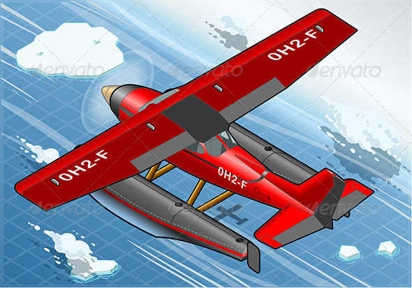 GraphicRiver Isometric Arctic Hydroplane in Flight in Rear View 6920397