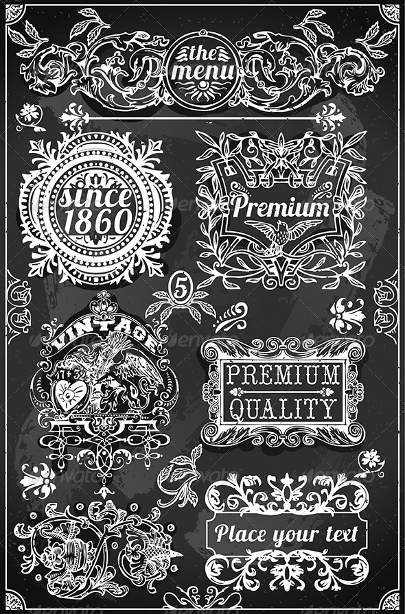 GraphicRiver Vintage Hand Drawn Banners and Labels on Blackboard 6920416