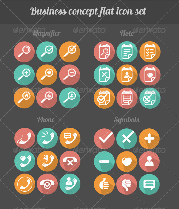 GraphicRiver Vector Business Flat Icon Set 6920417