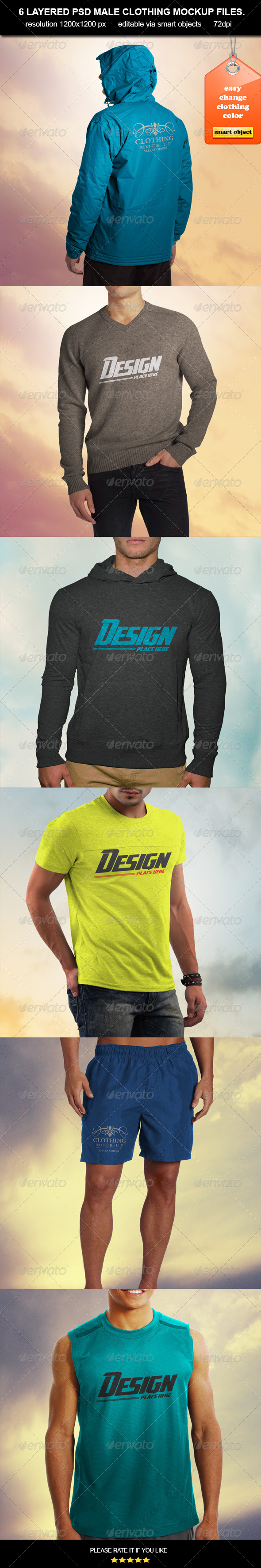 GraphicRiver Clothing MockUp-Male 6916928