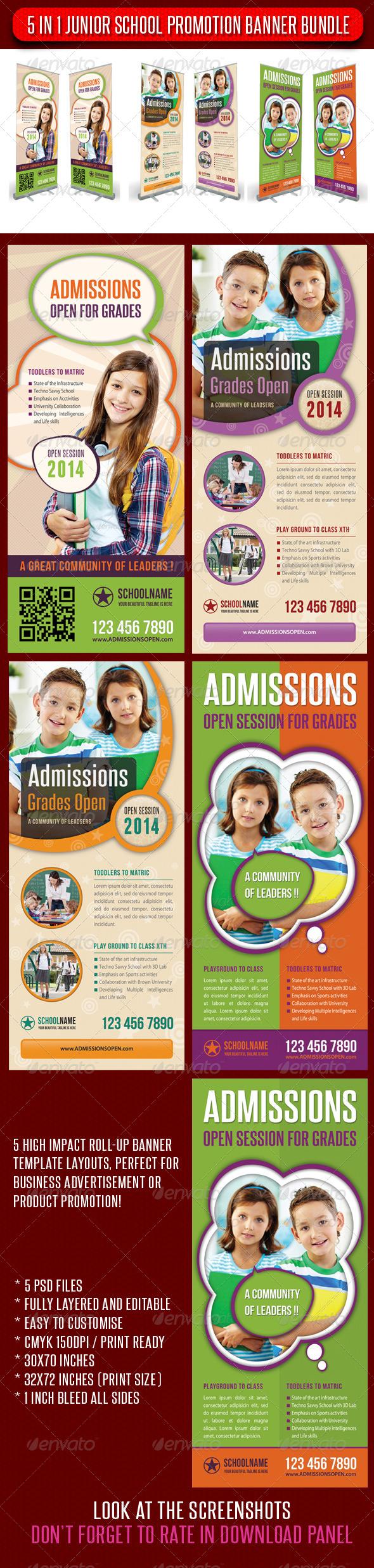 GraphicRiver 5 in 1 Junior School Promotion Banner Bundle 01 6920425