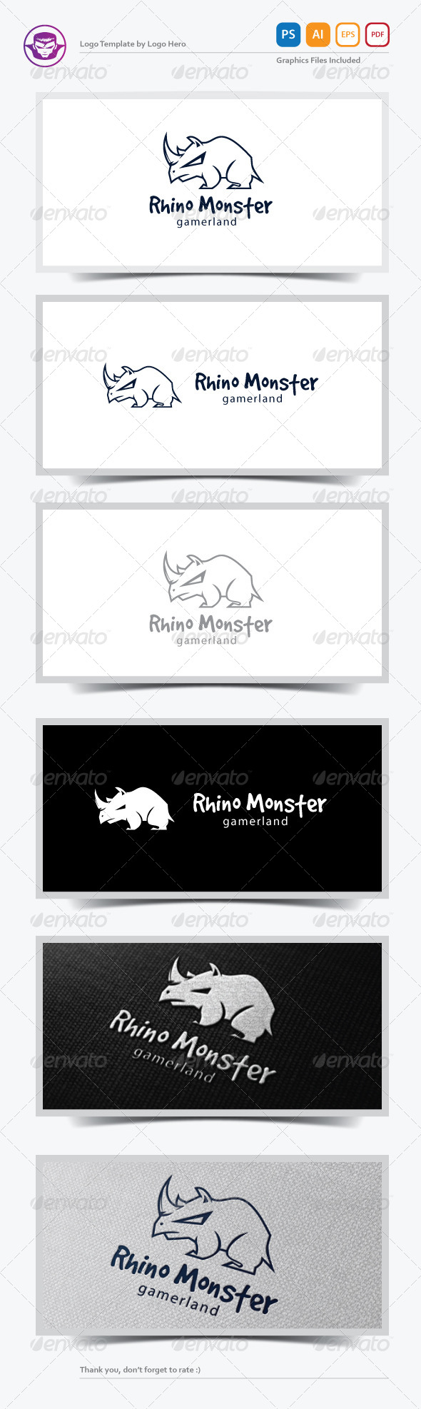 GraphicRiver Rhino Monster Logo Template 6920660