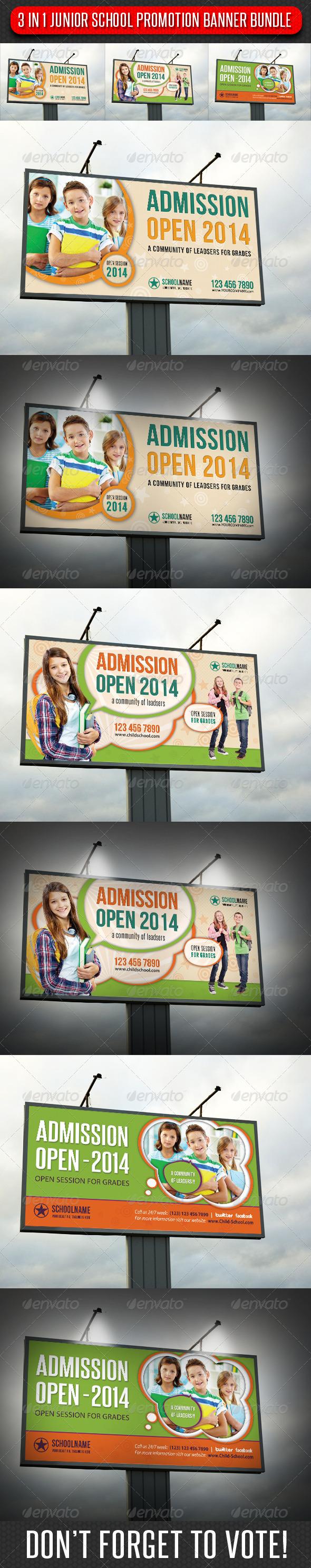GraphicRiver 3 in 1 Junior School Outdoor Banner Bunle 01 6920842
