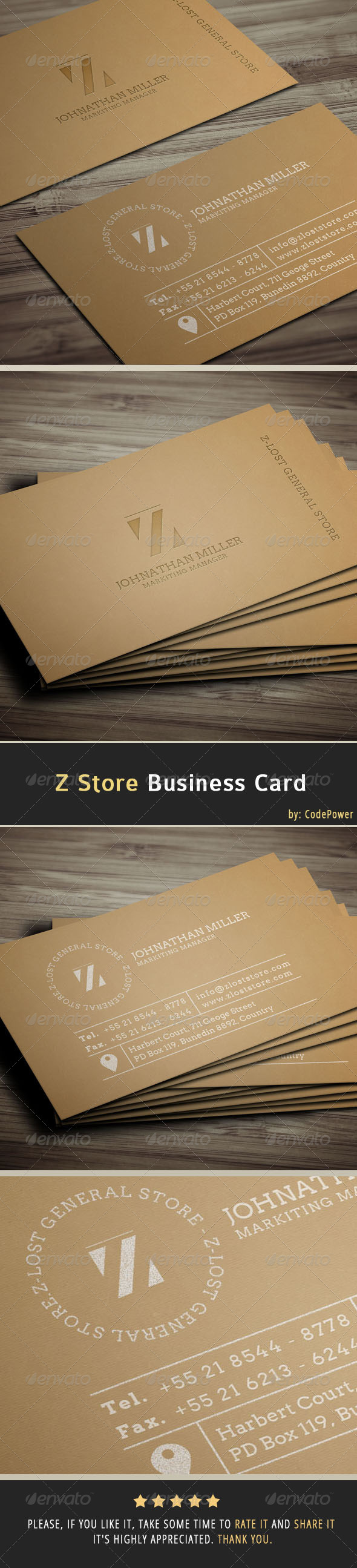 GraphicRiver Z Store Business Card 6921424