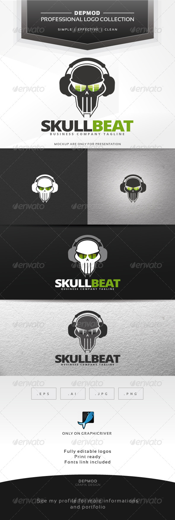 GraphicRiver Skull Beat Logo 6921492