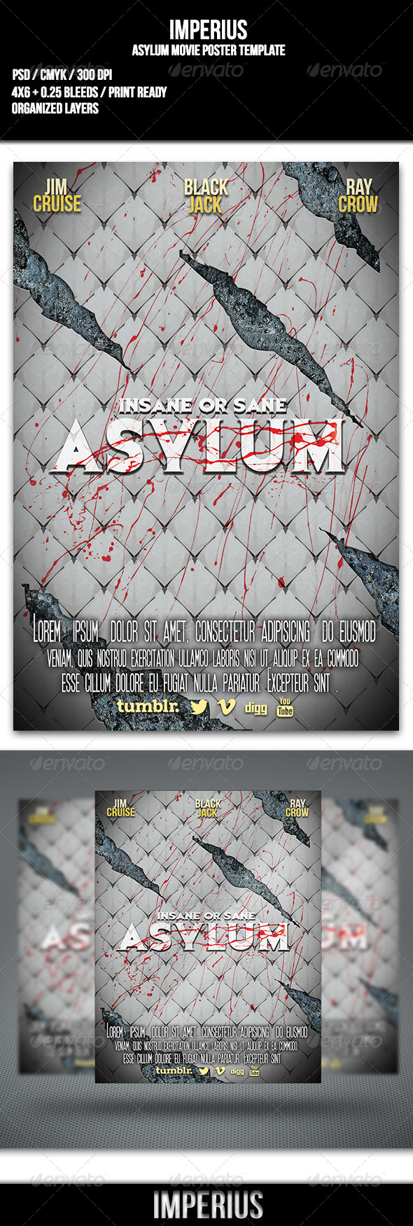 Asylum Movie Poster - Flyers Print Templates