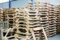 wooden pallettes in production hall - PhotoDune Item for Sale