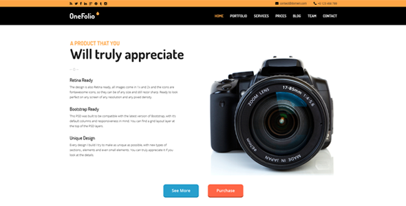 OneFolio - One Page PSD