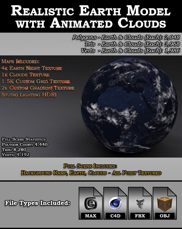 Realistic Earth Model with Animated Clouds - 3DOcean Item for Sale