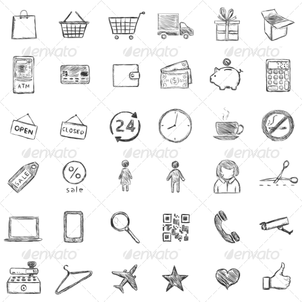 GraphicRiver Vector Set Of Sketch Shopping Icons 6923366