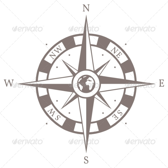 GraphicRiver Vector Isolated Brown Wind Rose 6923716