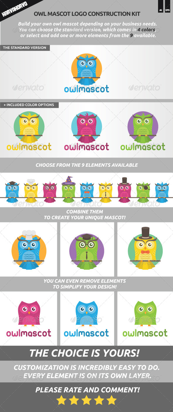 GraphicRiver Owl Mascot Logo Construction Kit 6913641
