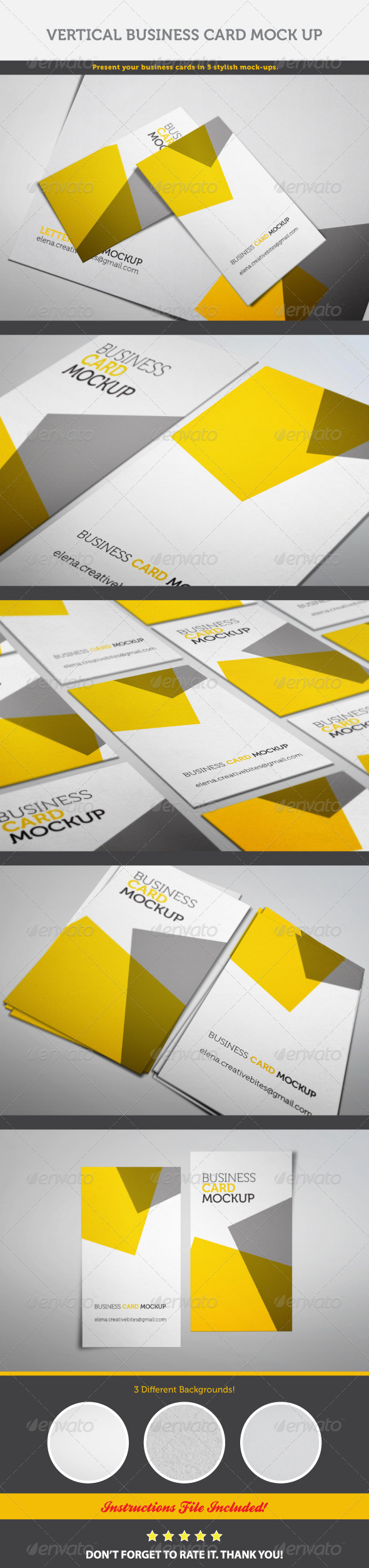 GraphicRiver Vertical Business Card Mock-up 6924484