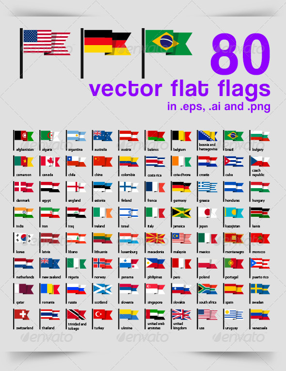 GraphicRiver 80 Vector Flat Flags 6924770