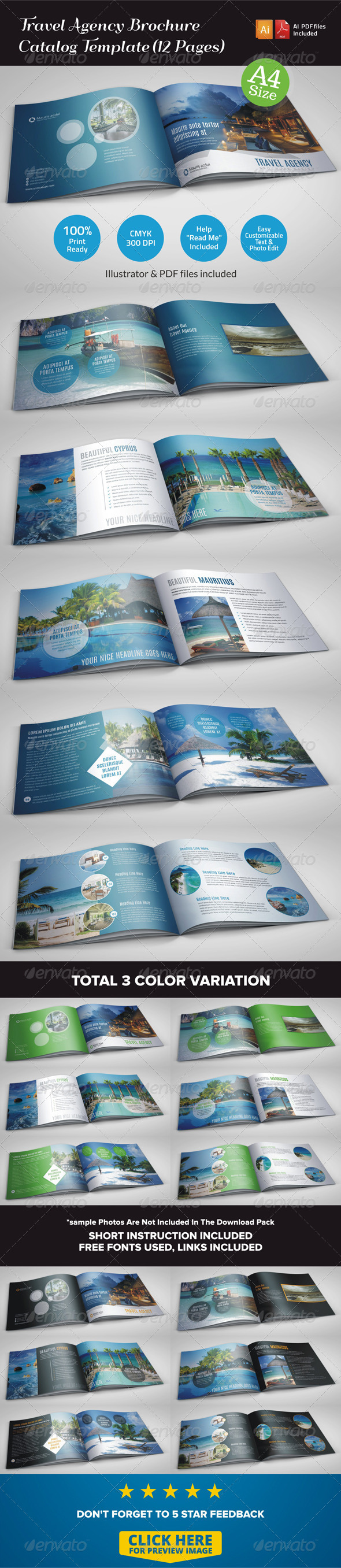 GraphicRiver Travel Agency Brochure Catalog Template 12 Pages 6925114