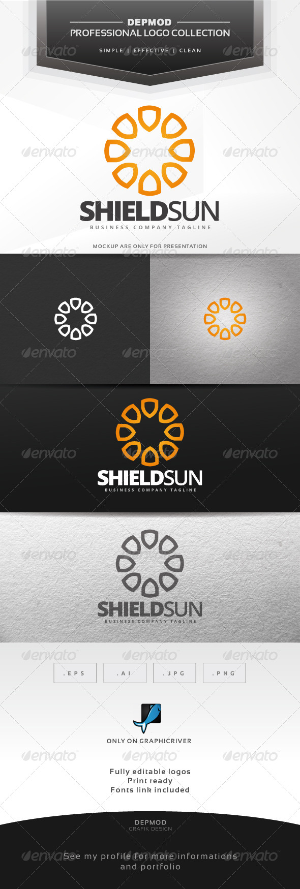 GraphicRiver Shield Sun Logo 6925157