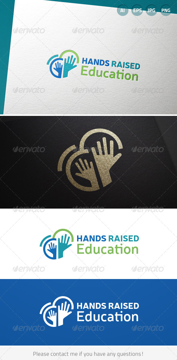 GraphicRiver Hands Raised Education Logo 6925200