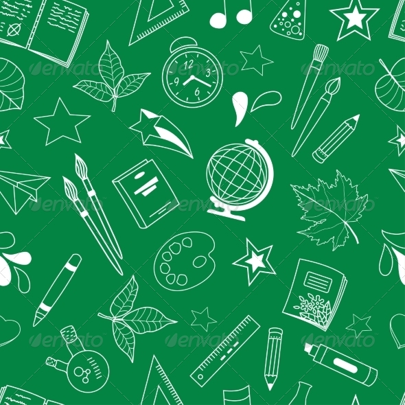 GraphicRiver Seamless Pattern with School Doodles 6925348